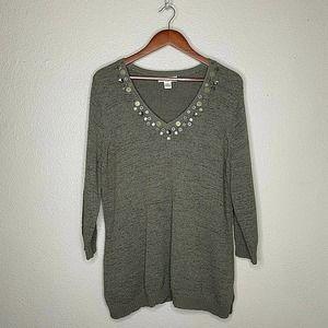 Susan Bristol 3/4 Sleeve V Neck Embellished Bling Pullover Knit Sweater SZ 2X